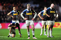 Harlequins players look dejected after the match. Aviva Premiership match, between Harlequins and Leicester Tigers on February 24, 2017 at the Twickenham Stoop in London, England. Photo by: Patrick Khachfe / JMP