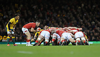 Wales' Gareth Davies prepares to place the ball into the scrum <br /> <br /> Photographer Ian Cook/CameraSport<br /> <br /> Under Armour Series Autumn Internationals - Wales v Australia - Saturday 10th November 2018 - Principality Stadium - Cardiff<br /> <br /> World Copyright © 2018 CameraSport. All rights reserved. 43 Linden Ave. Countesthorpe. Leicester. England. LE8 5PG - Tel: +44 (0) 116 277 4147 - admin@camerasport.com - www.camerasport.com