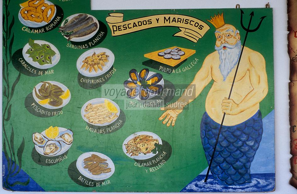 Europe/Espagne/Baléares/Minorque/Ciutadella : Le port - Mur peint représentant le menu des tapas d'un restaurant