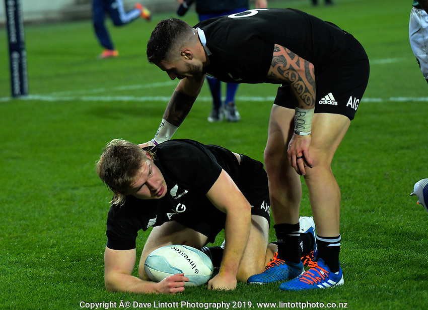 TJ Perenara congratulates Jack Goodhue on his try during the Rugby Championship rugby union match between the New Zealand All Blacks and South Africa Springboks at Westpac Stadium in Wellington, New Zealand on Saturday, 27 July 2019. Photo: Dave Lintott / lintottphoto.co.nz