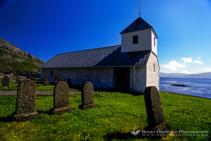 Faroe Islands. Saint Olav's Church from 12th century in Kirkjubøur.