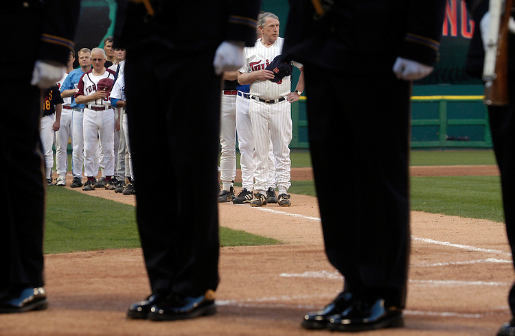 Coach Rep. Martin Sabo, D-Mn., at the head of the Democrat line-up at the 44th Annual Congressional Baseball Game at RFK stadium.