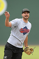 Atlanta Braves pitcher Chad Sobotka, drafted out of USC Upstate, throws live batting practice to other pro and amateur players from the region on Tuesday, June 16, 2020, at Fluor Field at the West End in Greenville, South Carolina, as team workouts remain shut down. (Tom Priddy/Four Seam Images)