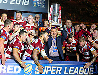 Wigan Warriors' Head Coach Shaun Wane lifts the trophy<br /> <br /> Photographer Alex Dodd/CameraSport<br /> <br /> Betfred Super League Grand Final - Wigan Warriors v Warrington Wolves - Saturday 13th October 2018 - Old Trafford - Manchester<br /> <br /> World Copyright &copy; 2018 CameraSport. All rights reserved. 43 Linden Ave. Countesthorpe. Leicester. England. LE8 5PG - Tel: +44 (0) 116 277 4147 - admin@camerasport.com - www.camerasport.com