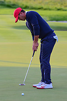 Brooks Koepka (USA) barely misses his putt on 16 during round 3 Four-Ball of the 2017 President's Cup, Liberty National Golf Club, Jersey City, New Jersey, USA. 9/30/2017.<br /> Picture: Golffile | Ken Murray<br /> <br /> All photo usage must carry mandatory copyright credit (&copy; Golffile | Ken Murray)