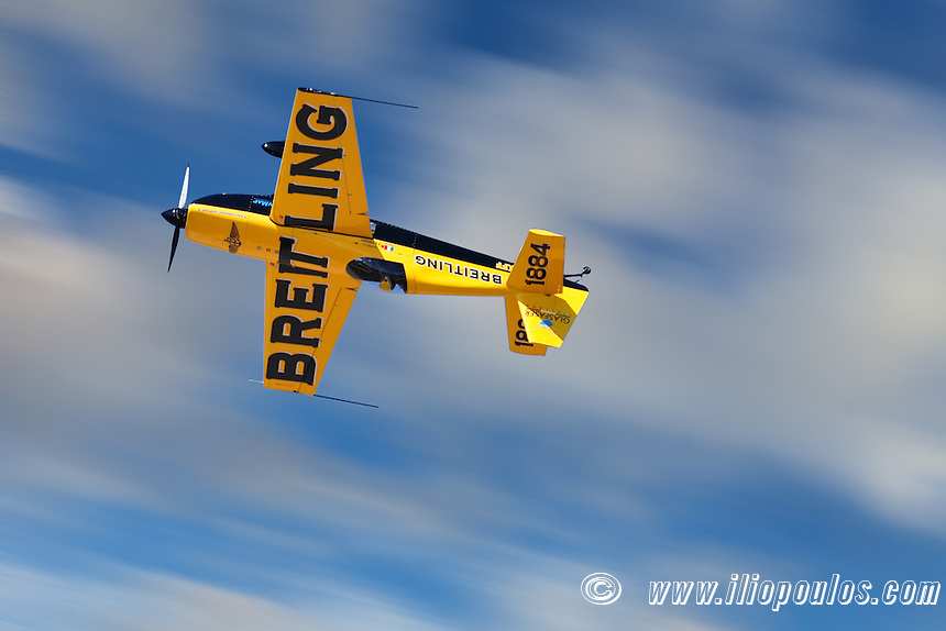 Aerobatic Airplane performance during Air Show in Athens, Greece