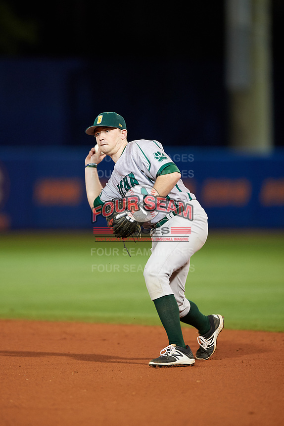 Siena Saints second baseman Jordan Bishop (4) throws to first base during a game against the Florida Gators on February 16, 2018 at Alfred A. McKethan Stadium in Gainesville, Florida.  Florida defeated Siena 7-1.  (Mike Janes/Four Seam Images)