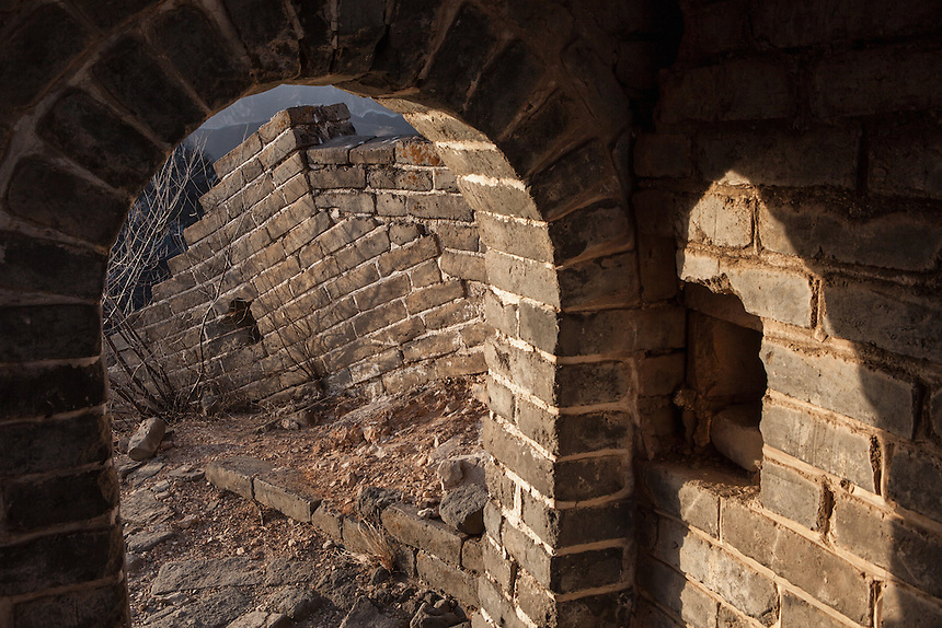 "The interior of a crumbling tower at Jiankou Great Wall. Jiankou, which translated as ""arrow nock"" is one of the most dangerous part of the Great Wall of China. However, at the same time, it is also arguably one of the most beautiful."