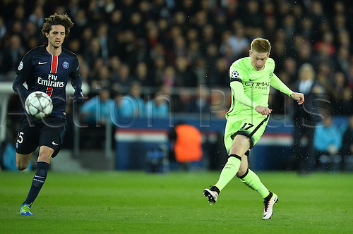 06.04.2016. Paris, France. UEFA CHampions League, quarter-final. Paris St Germain versus Manchester City.  ADRIEN RABIOT (psg) shoots past Kevin De Bruyne  (mc)