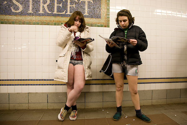 "New Yorkers celebrate the eighth annual ""No Pants Day,"" riding the subway in various forms of decorative underwear.  The event is sponsored by Improv Everywhere, a New York-based group that organizes a variety of light-hearted pranks throughout the year."