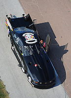 Apr. 28, 2012; Baytown, TX, USA: Aerial view of NHRA crew member for pro mod driver Leah Pruett during qualifying for the Spring Nationals at Royal Purple Raceway. Mandatory Credit: Mark J. Rebilas-
