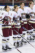 Maggie Taverna (Boston College - 10), Allie Thunstrom (Boston College - 9), Allison Szlosek (Boston College - 8), Kristin Regan (Boston College - 6) - The Boston College Eagles defeated the Harvard University Crimson 1-0 to win the Beanpot on Tuesday, February 10, 2009, at Matthews Arena in Boston, Massachusetts.