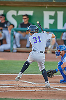 Ezequiel Tovar (31) of the Grand Junction Rockies at bat against the Ogden Raptors at Lindquist Field on August 28, 2019 in Ogden, Utah. The Rockies defeated the Raptors 8-5. (Stephen Smith/Four Seam Images)