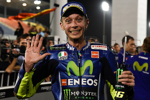 March 26th 2017, Doha, Qatar; MotoGP Grand Prix Qatar; Valentino Rossi (movistar Yamaha) celebrates his 3rd placed finish