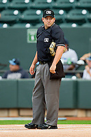 Home plate umpire Lawrence Reeves prior to the start of the Carolina League game between the Salem Red Sox and the Winston-Salem Dash at BB&T Ballpark on May 5, 2012 in Winston-Salem, North Carolina.  The Red Sox defeated the Dash 6-4.  (Brian Westerholt/Four Seam Images)