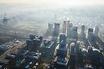 Nederland, Noord-Holland, Amsterdam, 11-12-2013; zicht op de Zuidas met in het midden Station Zuid-WTC, World Trade Centre (WTC) en Ring A10, foto richting Buitenveldert. Verder in beeld hoofdkantoor ABN-AMRO, de woontorens Symphony 1 en 2 (onderdeel Gershwin), de Vinoly-toren en Ito-toren (onderdeel Mahler4), Atrium. <br /> Zuid-as, 'South axis', financial center in the South of Amsterdam, with headquarters of former ABN AMRO. Amsterdam equivalent of 'the City', financial district. <br /> luchtfoto (toeslag op standaard tarieven);<br /> aerial photo (additional fee required);<br /> copyright foto/photo Siebe Swart.