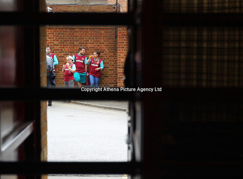 West Ham United fans outside the Boleyn ground  before  the Barclays Premier League match between West Ham United and Swansea City  played at Boleyn Ground , London on 7th May 2016