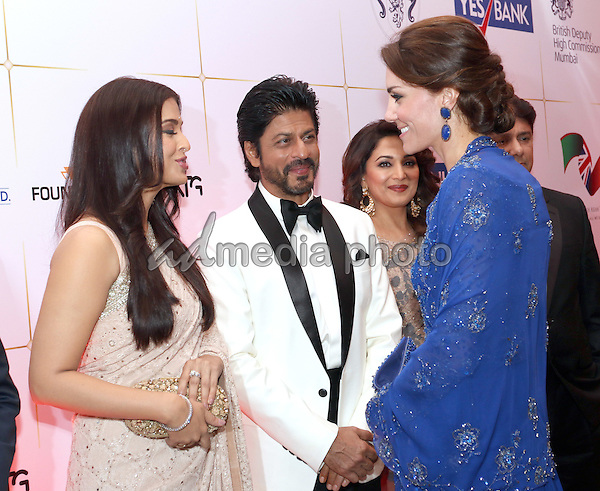10 April 2016 - Mumbai, India - Princess Kate, Duchess of Cambridge chats to Aishwarya Rai Bachchan and Shah Rukh Khan with Shriram Nene and Madhuri Dixit at a Gala Dinner and reception with Bollywood stars and figures from the business world in Mumbai, India. Photo Credit: ALPR/AdMedia