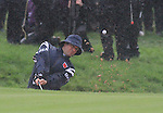 2010 Ryder Cup at the Celtic Manor twenty ten course, Newport Wales, 1/10/2010 on day one of play.Bubba Watson playing out of the bunker on the 1st during the morning four ball..Picture Fran Caffrey/www.golffile.ie.