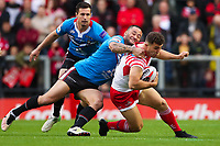 Picture by Alex Whitehead/SWpix.com - 11/05/2018 - Rugby League - Ladbrokes Challenge Cup - Leigh Centurions v Salford Red Devils - Leigh Sports Village, Leigh, England - Leigh's Jack Owens is tackled by Salford's Weller Hauraki.