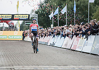 Race winner Mathieu van der Poel (NED/Beobank Corendon) crossing the finish line<br /> <br /> cx Telenet Superprestige Gieten 2017 (NED)