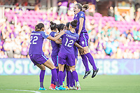 Orlando, FL - Sunday May 14, 2017: Orlando Pride celebrates goal during a regular season National Women's Soccer League (NWSL) match between the Orlando Pride and the North Carolina Courage at Orlando City Stadium.