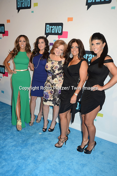 The Real Housewives of New Jersey cast arrive at the Bravo 2013  Upfront on April 3, 2013 at Pillars 37 Studio in New York City.