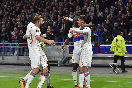2nd November 2017, Nice, France; EUFA Europa League, Olympique Lyonnais versus Everton;  Ferland Mendy celebrates with scorer Houssem Aouar (lyon)  as they go up by 2-0 in the 76th minute