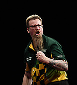 10th January 2018, Brisbane Royal International Convention Centre, Brisbane, Australia; Pro Darts Showdown Series; Simon Whitlock (AUS) celebrates hitting a maximum during his match against Lucas Cameron (AUS)