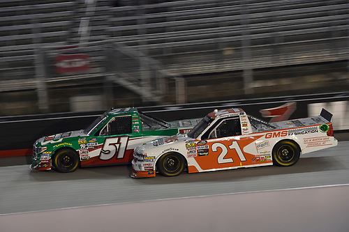 #51: Christopher Bell, Kyle Busch Motorsports, Toyota Tundra Hunt Brothers Pizza, #21: Johnny Sauter, GMS Racing, Chevrolet Silverado GMS Fabrication
