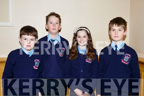 Ardfert National School attending the annual Noreen Lynch Credit Union Quiz in the Brandon Hotel on Sunday last. L-r, Garry O'Riordan, Liam Og O'Connor, Lily Nowak and Tom O'Flaherty.