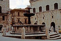 Italy: Assisi--Fountain in Piazza Del Commune. Photo '85.