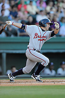Center fielder Joseph Daris (11) of the Rome Braves bats in a game against the Greenville Drive on Friday, June 12, 2015, at Fluor Field at the West End in Greenville, South Carolina. Greenville won, 10-8. (Tom Priddy/Four Seam Images)