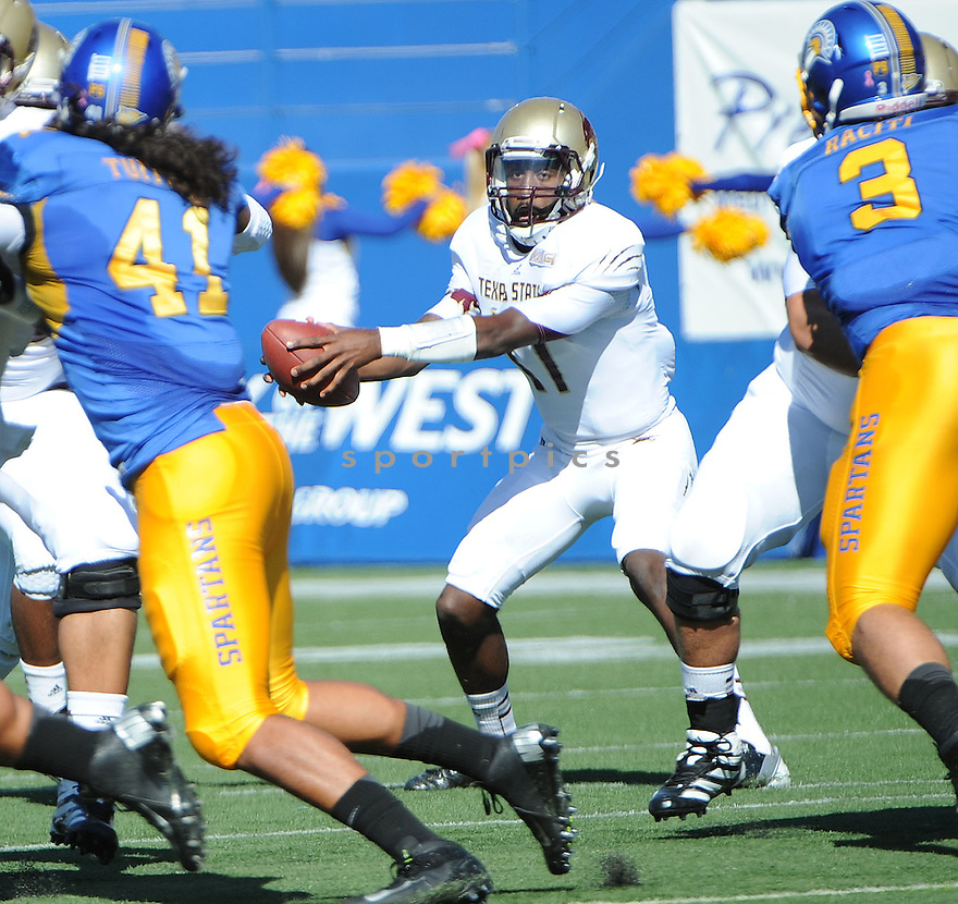 Texas State Bobcats Shaun Rutherford (17) in action during a game against San Jose State on October 27, 2012 at Spartan Stadium in San Jose, CA. San Jose State beat Texas State 31-20.