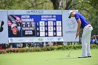 Justin Thomas (USA) watches his putt on 7 during round 3 of the World Golf Championships, Mexico, Club De Golf Chapultepec, Mexico City, Mexico. 3/4/2017.<br /> Picture: Golffile | Ken Murray<br /> <br /> <br /> All photo usage must carry mandatory copyright credit (&copy; Golffile | Ken Murray)