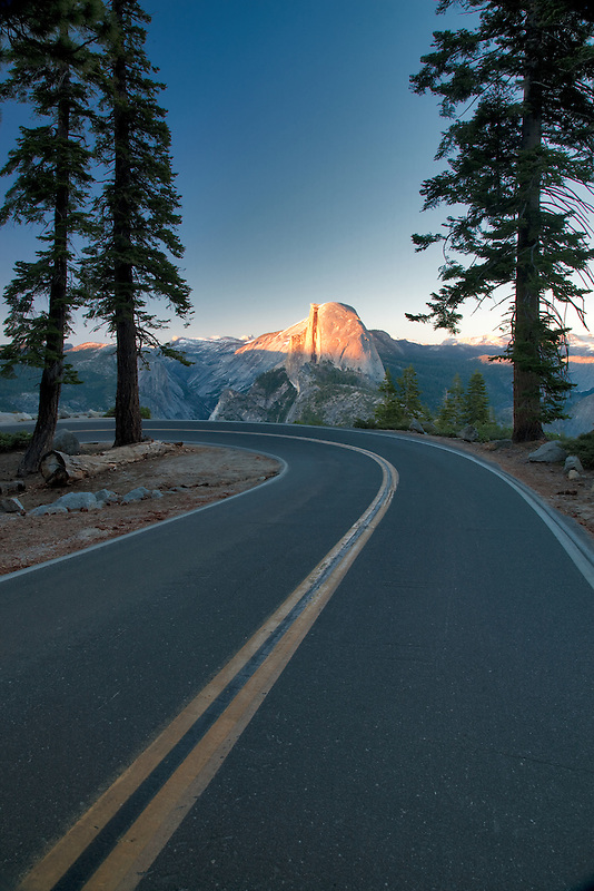 Road to Glacier Point with Half Dome. Yosemite National Park, California