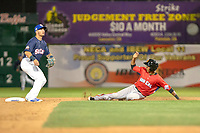 Johneshwy Fargas (21) of the San Jose Giants and Omar Estevez (16) of the Rancho Cucamonga Quakes in action during the 2018 California League All-Star Game at The Hangar on June 19, 2018 in Lancaster, California. The North All-Stars defeated the South All-Stars 8-1.  (Donn Parris/Four Seam Images)