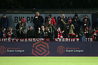 The travelling fans during Arsenal Women vs Manchester United Women, FA WSL Continental Tyres Cup Football at Meadow Park on 7th February 2019