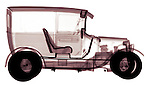 X-ray image of an antique delivery truck (color on white) by Jim Wehtje, specialist in x-ray art and design images.