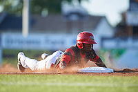 Batavia Muckdogs center fielder Thomas Jones (49) slides head first into third base during a game against the Auburn Doubledays on July 4, 2017 at Dwyer Stadium in Batavia, New York.  Batavia defeated Auburn 3-2.  (Mike Janes/Four Seam Images)