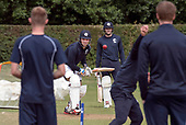 Cricket Scotland - Scotland training at Ayr CC ahead of this week's 4 day Intercontinental Cup match against Namibia - the match begins tomorrow (Tuesday) with an 11am start on each day - Scotland players Mark Watt and Richie Berrington (right) in batting practice - picture by Donald MacLeod - 05.06.2017 - 07702 319 738 - clanmacleod@btinternet.com - www.donald-macleod.com