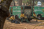 Crew from the Angles National Forest finishes up hose lay. After hearing the news that the South Fork Fire was 1/4 mile from Wawona, I went back to the fire to see what was happening.  Most of the fire activity last night and this morning early were near Chilnualna Falls Road.  It looked to me that the firefighters had done their jobs.   Structure protection was in place with lots of engine and hose lays all over the place.  I decided to photograph Firefighters today Monday, August 21, 2017.  Photo by Al Golub/Golub Photography.