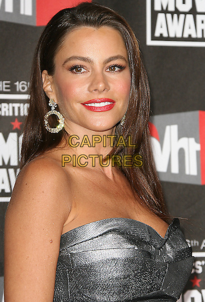 SOFIA VERGARA .at The16th Annual Critics' Choice Movie Awards held at The Hollywood Palladium in Hollywood, California, USA, January 14th, 2011..portrait headshot red lipstick make-up beauty strapless grey gray silver  .CAP/RKE/DVS.©DVS/RockinExposures/Capital Pictures.