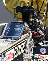 Jul. 20, 2013; Morrison, CO, USA: NHRA top fuel dragster driver Brittany Force during qualifying for the Mile High Nationals at Bandimere Speedway. Mandatory Credit: Mark J. Rebilas-