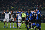 The referee Gianluca Rocchi indicates for a corner kick as Atalanta players appeal fro a penalty following a challenge by Romelu Lukaku of Inter on Rafael Toloi of Atalanta in the penalty during the Serie A match at Giuseppe Meazza, Milan. Picture date: 11th January 2020. Picture credit should read: Jonathan Moscrop/Sportimage