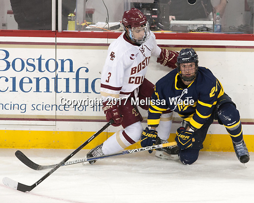 Luke McInnis (BC - 3), Tyler Drevitch (Merrimack - 24) - The visiting Merrimack College Warriors defeated the Boston College Eagles 6 - 3 (EN) on Friday, February 10, 2017, at Kelley Rink in Conte Forum in Chestnut Hill, Massachusetts.