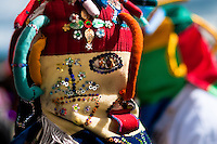 "A man dancer, wearing a colorful masque, performs Aya Uma - the creature from the Indian myths, during the Inti Raymi festival in Pichincha province, Ecuador, 26 June 2010. Inti Raymi, ""Festival of the Sun"" in Quechua language, is an ancient spiritual ceremony held in the Indian regions of the Andes, mainly in Ecuador and Peru. The lively celebration, set by the winter solstice, goes on for various days. The highland Indians, wearing beautiful costumes, dance, drink and sing with no rest. Colorful processions in honor of the God Inti (Sun) pass through the mountain villages giving thanks for the harvest and expressing their deep relation to the Mother Earth (Pachamama)."