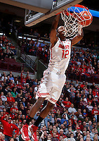 Ohio State Buckeyes forward Sam Thompson (12) makes an uncontested dunk during Tuesday's NCAA Division I basketball game against the Ohio University Bobcats at Value City Arena in Columbus on November 12, 2013. (Barbara J. Perenic/The Columbus Dispatch)