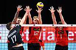 14.09.2019, Paleis 12, BrŸssel / Bruessel<br />Volleyball, Europameisterschaft, Deutschland (GER) vs. Belgien (BEL)<br /><br />Angriff Tomas Rousseaux (#17 BEL) - Block  / Dreierblock Georg Grozer (#9 GER), Anton Brehme (#12 GER), Christian Fromm (#1 GER)<br /><br />  Foto © nordphoto / Kurth