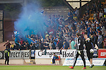 St Johnstone v Rosenborg....25.07.13  Europa League Qualifier<br /> Saints fans let off a blue flare<br /> Picture by Graeme Hart.<br /> Copyright Perthshire Picture Agency<br /> Tel: 01738 623350  Mobile: 07990 594431